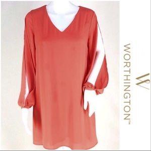 NWT Light Orange Open Sleeve Lined Dress